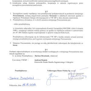 Druga część dokumentu potwierdzającego Naszą współpracę z VWMP Polkowice.